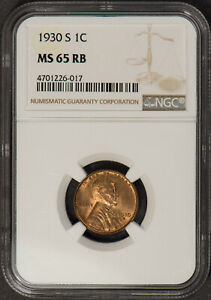 1930-S LINCOLN WHEAT 1C SMALL CENT ** NGC MS 65 RB ** NICE UNC COIN! Lot#Q537