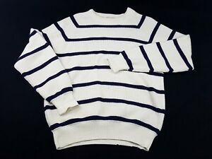 Lord-Jeff-Mens-M-White-Striped-Sweater-Whaler-Rib-Woven-80s-90s-Vtg-Long-Sleeve