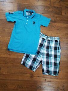 U.S Polo Assn Infant Boys S//S Blue Polo 2pc Short Set Size 3//6M 6//9M $32