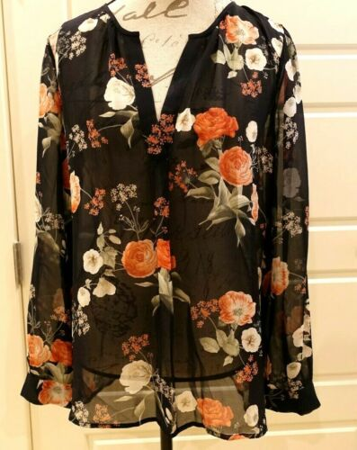 Joie - Black & orange semi sheer floral tunic - Si