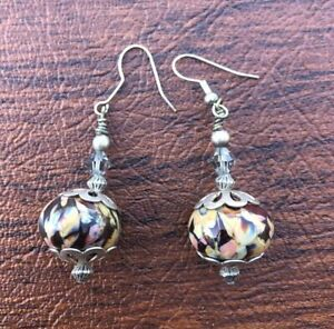 Vintage-Sterling-Silver-925-Dangle-Drop-Floral-Glass-Bead-Earrings-1-5