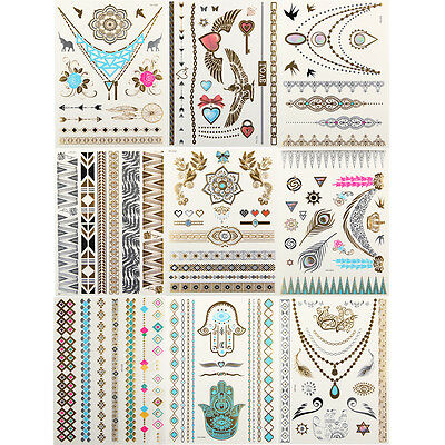 9 Sheets Temporary Jewelry Metallic Tattoo Colorful Tattoos Makeup Sticker