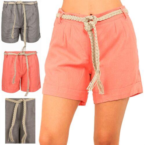 Donna con Cintura Roll Up Da Donna Hot Pants Casual Estate Nuovo Moda Pantaloncini Di Lino