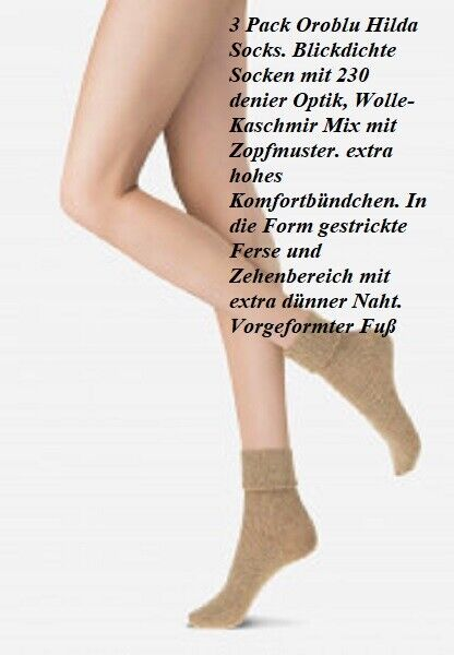 3 Pack Hilda Socken, 230 DEN blickdicht Wolle-Kaschmir Mix beige melange 35-38