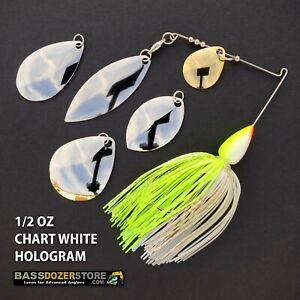 Bassdozer-spinnerbaits-BLADE-KIT-1-2-oz-CHART-WHITE-HOLOGRAM-spinner-bait-baits