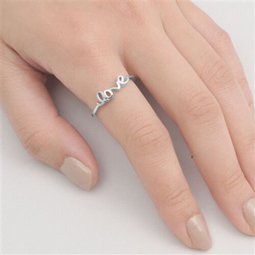 Girl/'s Love Word Promise Ring New .925 Sterling Silver Cute Band Sizes 4-10