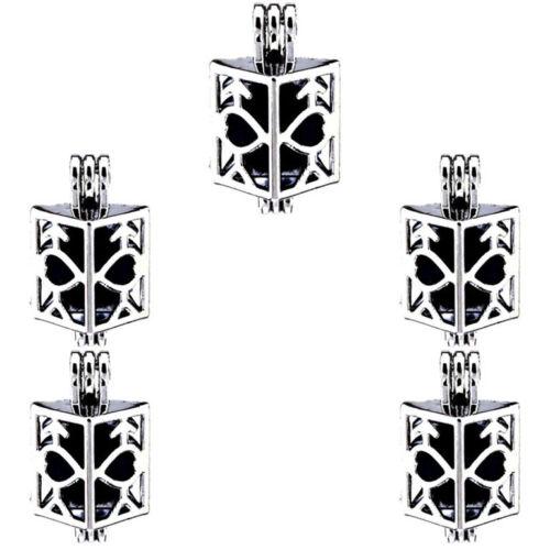 5X-K255 ruban couleur perle Cage Pendentif cœur creux carré Médaillon