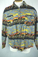 Mens XL Shirt Horse Western Sunset Rodeo Paddock Moda Tech Long Sleeve Button