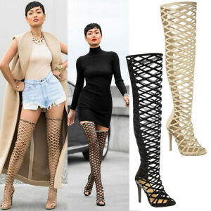 LADIES-WOMENS-CUT-OUT-OVER-THE-KNEE-THIGH-HIGH-STILETTO-HEELS-BOOTS-SANDALS-SIZE