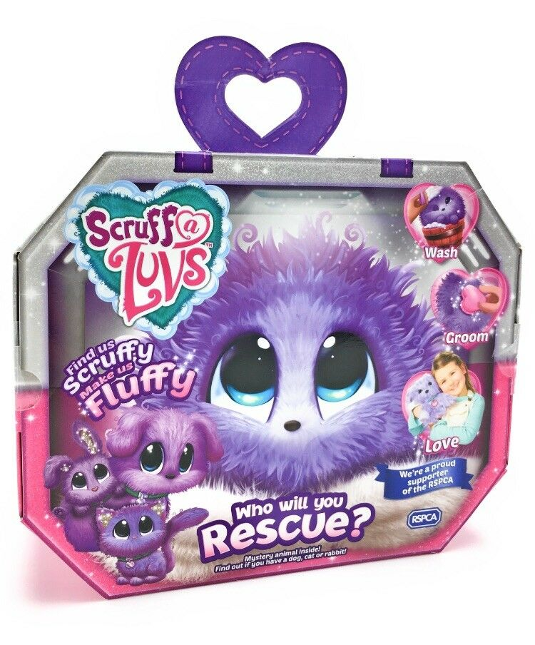 Scruff A Luvs PURPLE Rescue Toy Pet Furry Soft Toy Surprise Kitten Puppy Rabbit