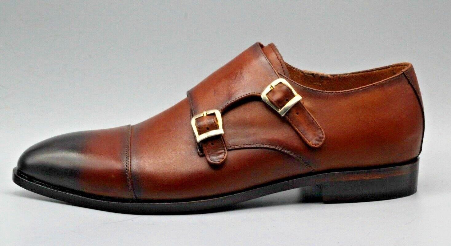 Men's Bespoke Handmade Tan Leather nero Shaded Oxford Toe Cap Double Monk scarpe