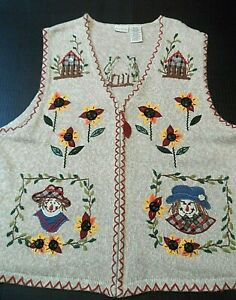 White-Stag-Plus-Womens-Size-22W-24W-Ugly-Vest-Knit-Harvest-Fall-Autumn-Zip-Up