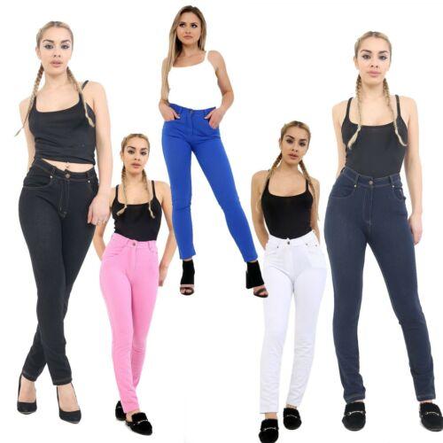 Women Ladies Denim Stretch with Zip Detail Tregging Leggings Trouser
