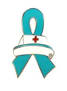 Teal Ribbon Lapel Pin Nurse Cap Red Cross Nursing Ovarian Cancer Awareness New Ebay