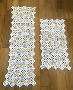 Vintage Hand Crochet Doily Table Runner Dresser Scarf Yellow White Set of 2