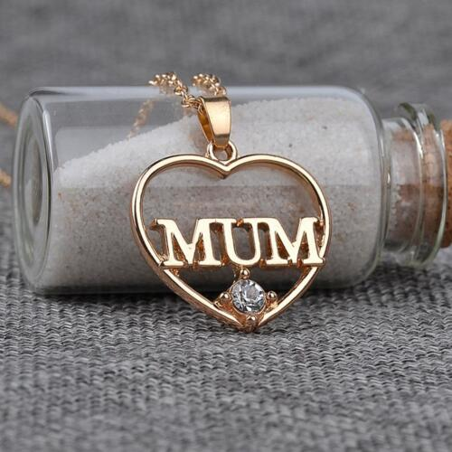 Mum Heart Zircon Necklace Xmas Birthday Gift For Her Mom Women Mother Day T
