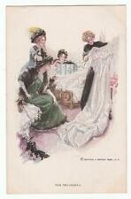 "Harrison Fisher Signed Postcard Glamorous Lady ""The Trousseau"" R&N 187"