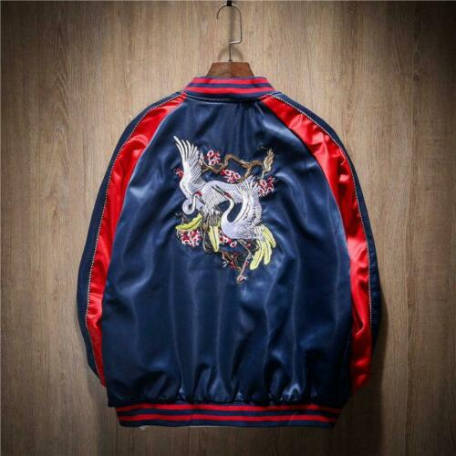 2019 Men Women Jacket Satin Embroidery Crane Bird Souvenir Bomber Trendy Coat Sz
