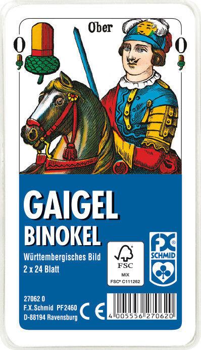50 x 2 x 24 Blatt Ravensburger Spielkarten Gaigel Binokel Wür. Bild Etui 27062