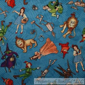 BonEful-FABRIC-FQ-Cotton-Quilt-VTG-Blue-Dorothy-Wizard-Of-Oz-Movie-Old-Character