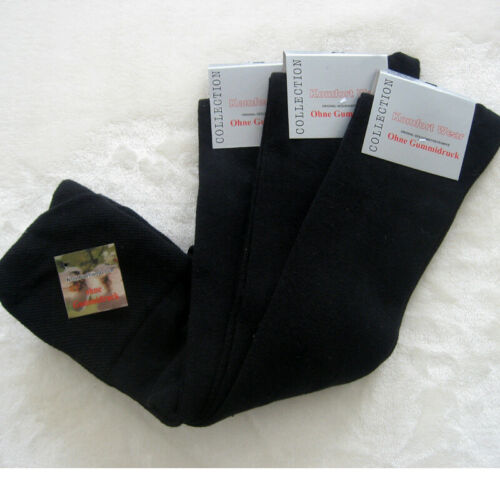 3 Paar Herren Kniestrümpfe mit Baumwolle ohne Gummi breiter Bund schwarz 39-46