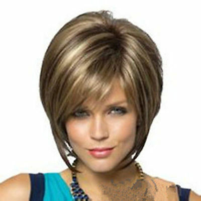 New Straight Hair Wigs Fashion Short Women's Wig + Free wig cap