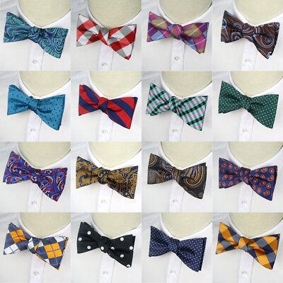 Narrow Mens Self Tied Bow Tie Handkerchief Set Paisley Tuxedo Bowtie Wedding Tie