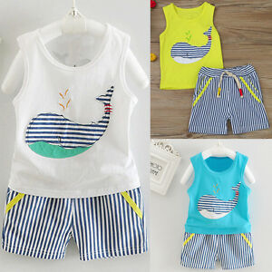 f97315fbe Newborn Baby Boy Girl Tops Vest+Shorts Pants Summer Beach Outfit ...
