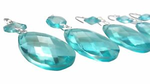 5 Light Aqua 80mm Icicle Chandelier Crystals