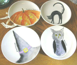 New-Rae-Dunn-Halloween-Cat-Owl-Pumpkin-RARE-Witch-039-s-Hat-w-Lavender-Plate-Set-HTF