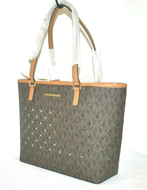 611a73c0e2f6 Michael Kors Jet Set Violet Small Carryall Tote Brown Logo Perforated  Leather
