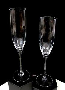"""ORREFORS SIGNED CRYSTAL 2PC OPTICA SYMPHONY CLEAR 9 1/2"""" CHAMPAGNE FLUTES 1987"""