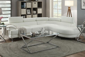 Poundex F6985 White Bonded Leather Sectional Sofa White Color Ebay