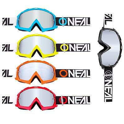 Oneal B-10 Goggle Twoface Mx Occhiali A Specchio Argento Moto Cross Downhill Mtb- Caldo E Antivento