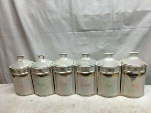 Vintage-6pc-Ceramic-Kitchen-Canister-set-German-Lusterware-Canisters-8in-x-4in-x
