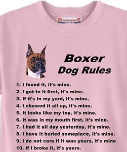 Dog T Shirt Boxer Dog Rules Adopt Rescue Animal Friend Men Women