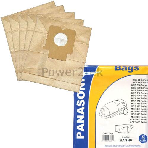 5 x C2E Sacchetti per aspirapolvere per Panasonic mce741uk mce742 mce742uk HOOVER NUOVO