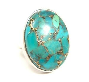 Sterling-Silver-Turquoise-Ring-Handmade-Bold-One-of-a-Kind-Size-7
