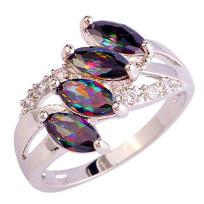 Noble Gift Rainbow & White Topaz Jewelry Gemstone Silver Ring Size 6 7 8 9 10 11