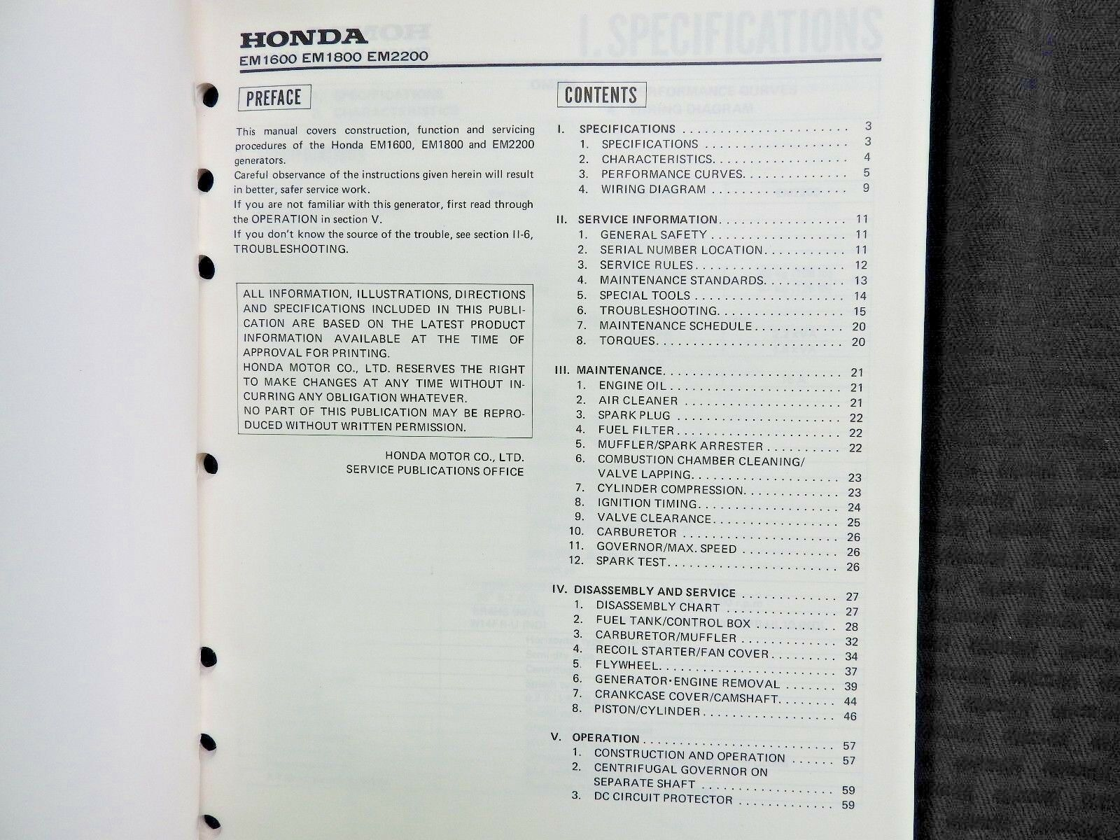 Oem Honda Generator Em1600 Em1800 Em2200 Shop Manual Ebay Black Max Wiring Diagram Norton Secured Powered By Verisign
