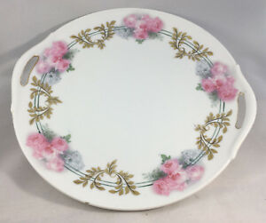 Two-Handled-Cake-Plate-Antique-Gold-Pink-Roses-RS-Prussia-Germany-Green-10-034-Rose