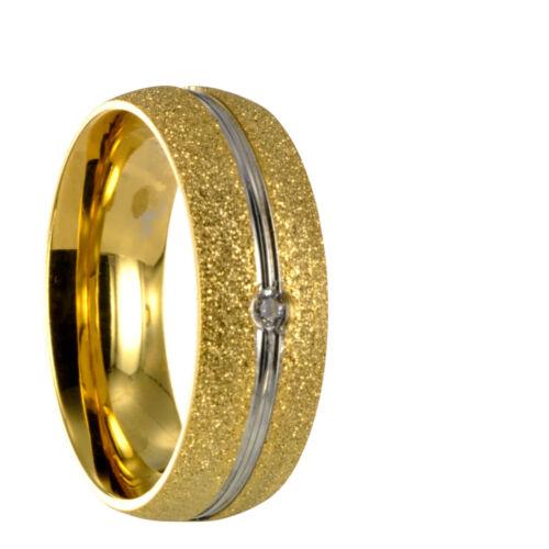 Anillo de pareja de acero inoxidable anillo de la promesa con circonita grabado interior incluido 30162