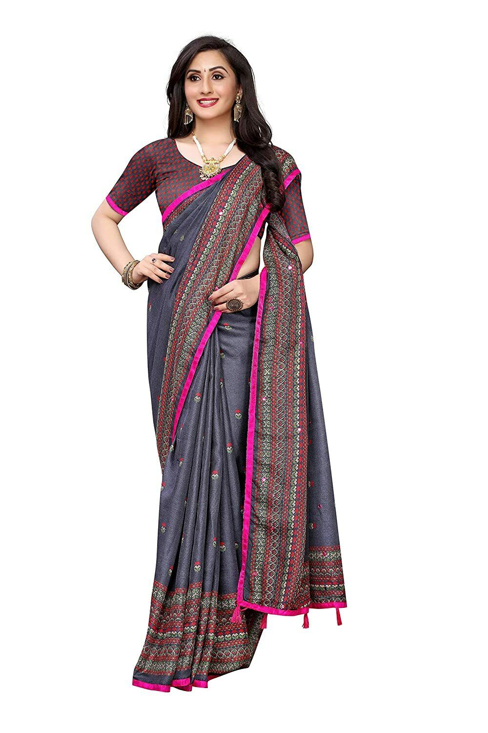 Women's Jute Silk Printed Mirror Embroidery Saree With Unstiched Blouse