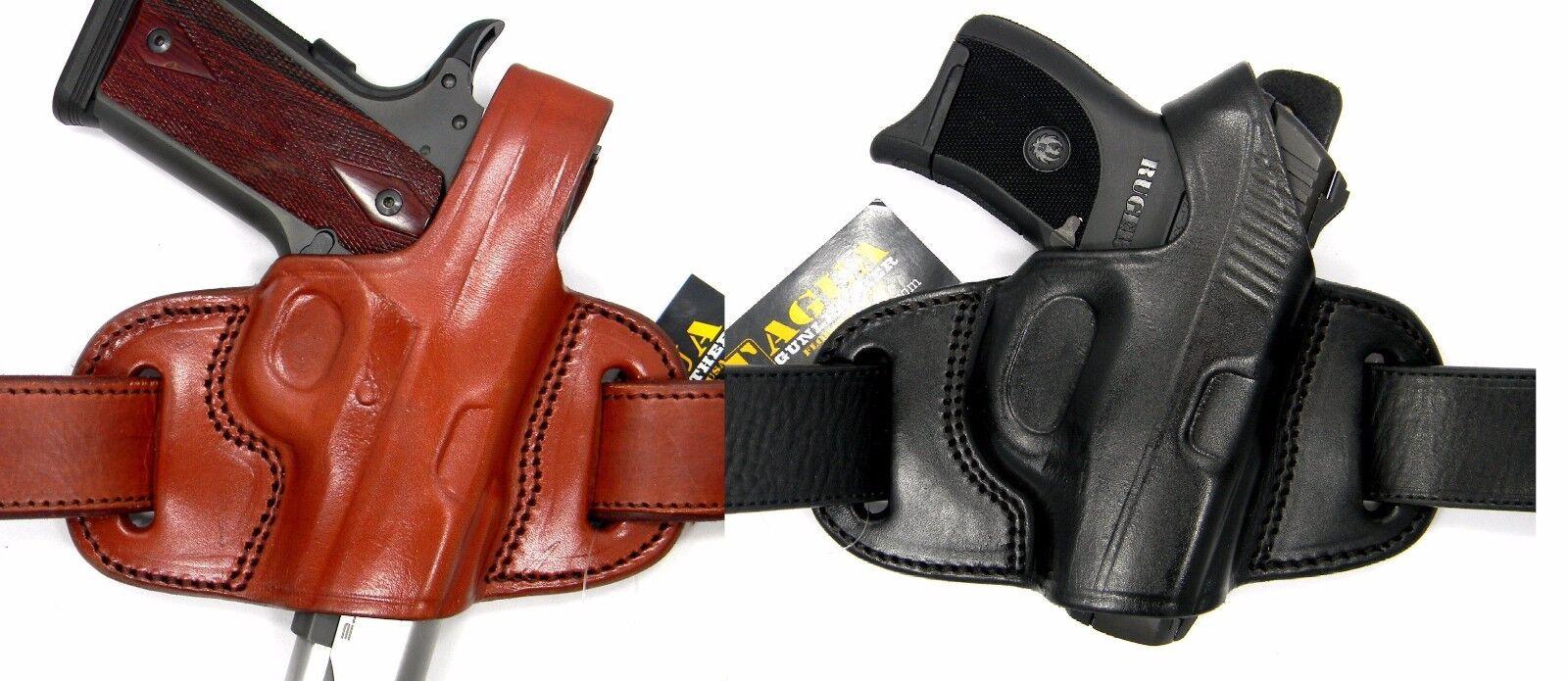 TAGUA LEATHER MINI THUMB BREAK OWB BELT SLIDE HOLSTER - Choose Your Gun