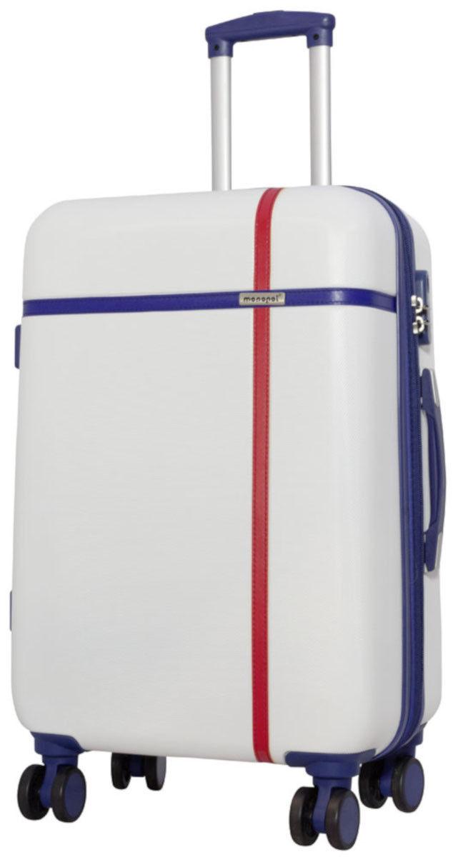 ABS Coquille de Dure Valise de Coquille voyage trolley montagnes blanc taille L dd9474