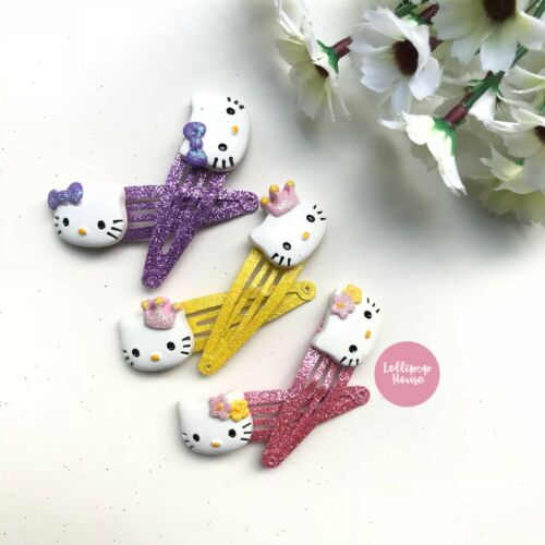 Girls Hair Clip Set Hello KItty Cupcake Hairclip Sets Kids Glitter Hair Clips