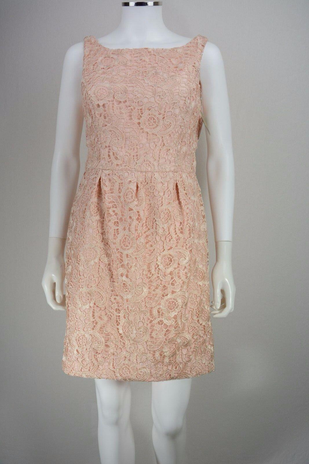 Woherren Aidan Mattox Größe 10 Rosa Crocheted Floral Lace Sheath Dress NEW NWT