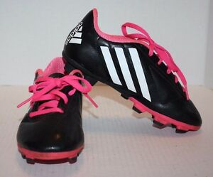 82e71ad4e Adidas Black   White w Pink Laces Boy s Youth Soccer Cleats Size 3 ...