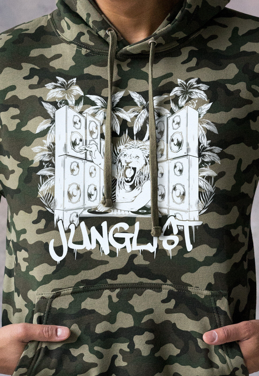 Junglist Lion DJ Camo Hoodie Drum and Bass Military Mens Sweatshirt Hooded Top