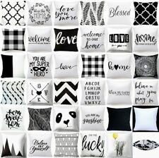 "Cushion COVER White Black Soft 2-Sided Home Decor Sofa Bed Pillow Case 18x18"" US"